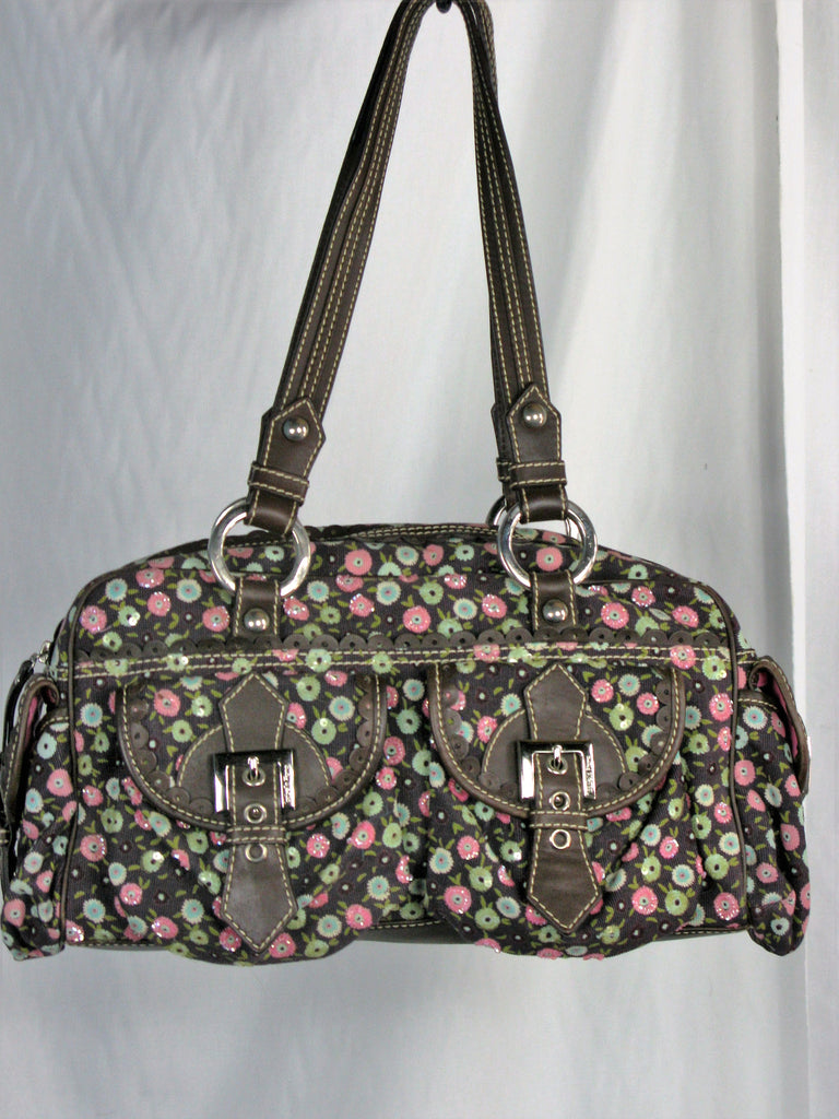 Isabella Fiori Corduroy, Leather &  Sequined Satchel Doctor Bag - ruby & sofia