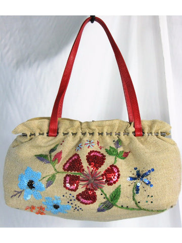 Serpui Marie Beaded Embroidered Sequined Woven Bag