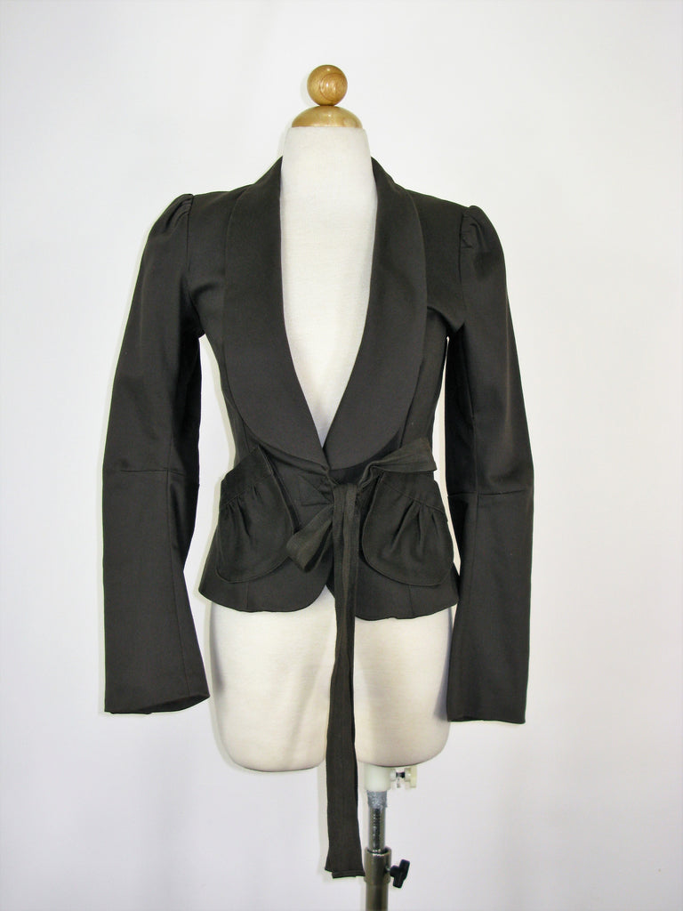 mason by Michelle Mason Puff Shoulder Shawl Collar Tie Waist Blazer Jacket 4