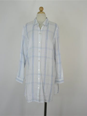J Jill Love Linen Plaid Shirt Dress Tunic Top M NWT