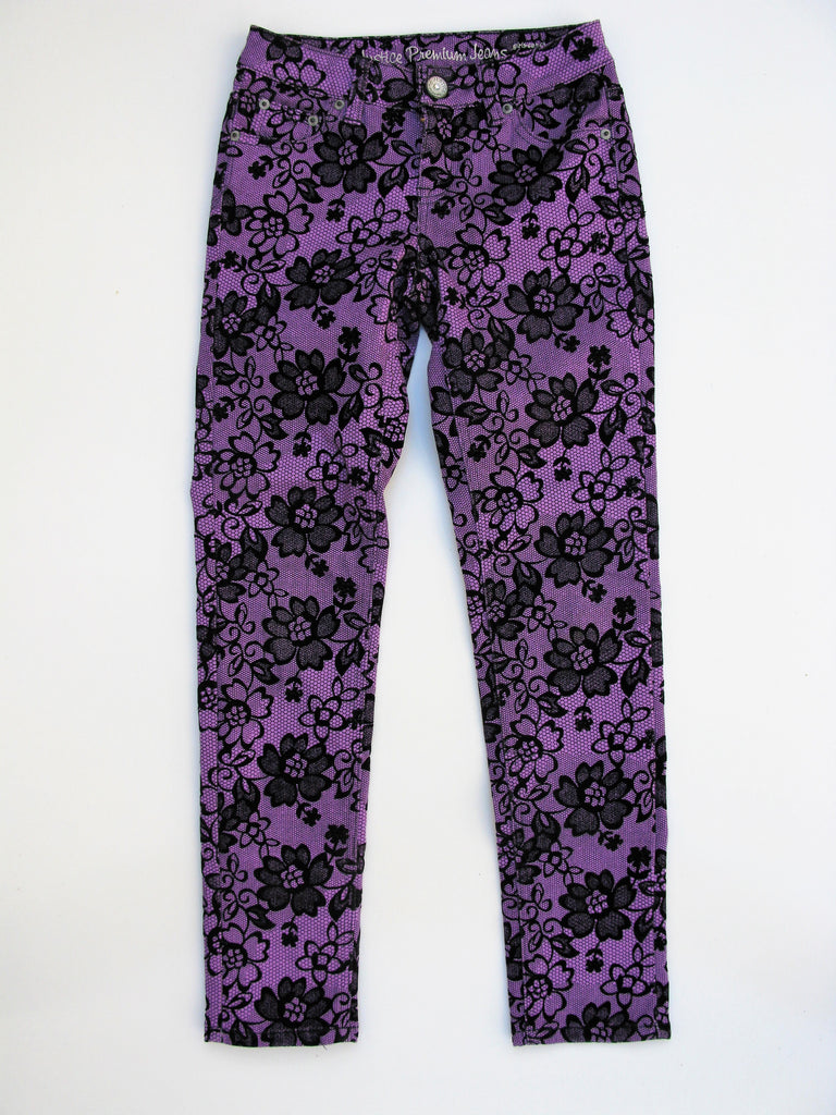 Justice Premium Girl's Skinny Jeans - Velvet Lace Print on Purple 10R