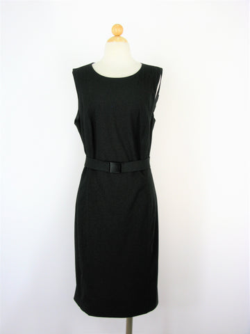 Calvin Klein Black Sleeveless Belted Career Shift Dress 18W