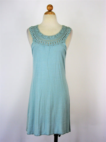 BCBG Max Azria Silk & Cotton Knit Crochet Neck Tunic Dress S NWT