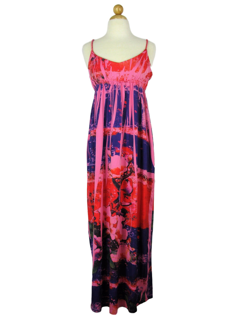 Tracy Lynn Graphic Print Empire Waist Rope Strap Maxi Dress M