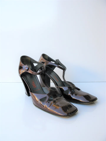 Vintage Miu Miu T Strap Cutout Patent Leather Mary Jane Heels 36.5/ 6.5