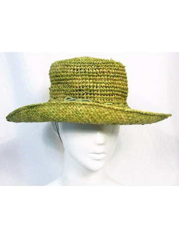 Louise Green Basket Weave Wide Brim Sun Hat