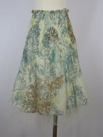 Shin Choi Cotton & Silk Tulle Watercolor Print Skirt S