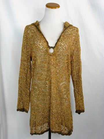 DKNY Hooded Boho Chic Ringed Crochet Tunic Cover-up M/L