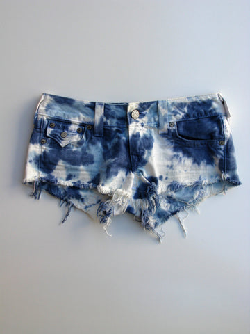 True Religion Joey Cut-off Tie Dye Frayed Denim Shorts 27