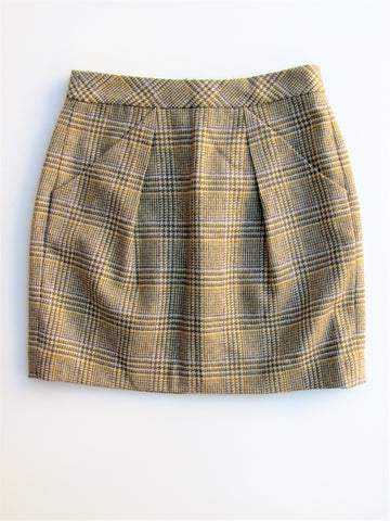 J Crew Origami Wool Houndstooth Plaid Pleated Mini Skirt 2