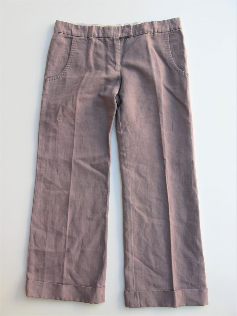 Stella McCartney Linen Blend Cuffed Cropped Trouser Pants It40 / 4-6