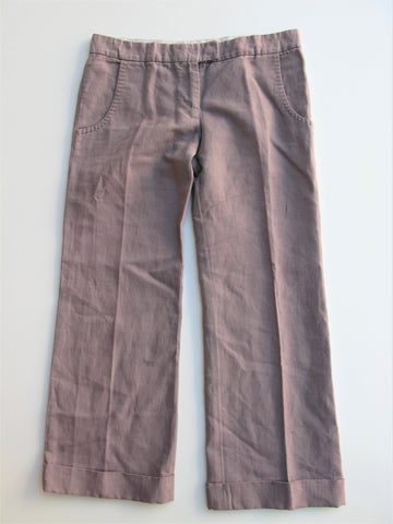 Stella McCartney Linen Blend Cuffed Cropped Trouser Pants It40 / 2/4