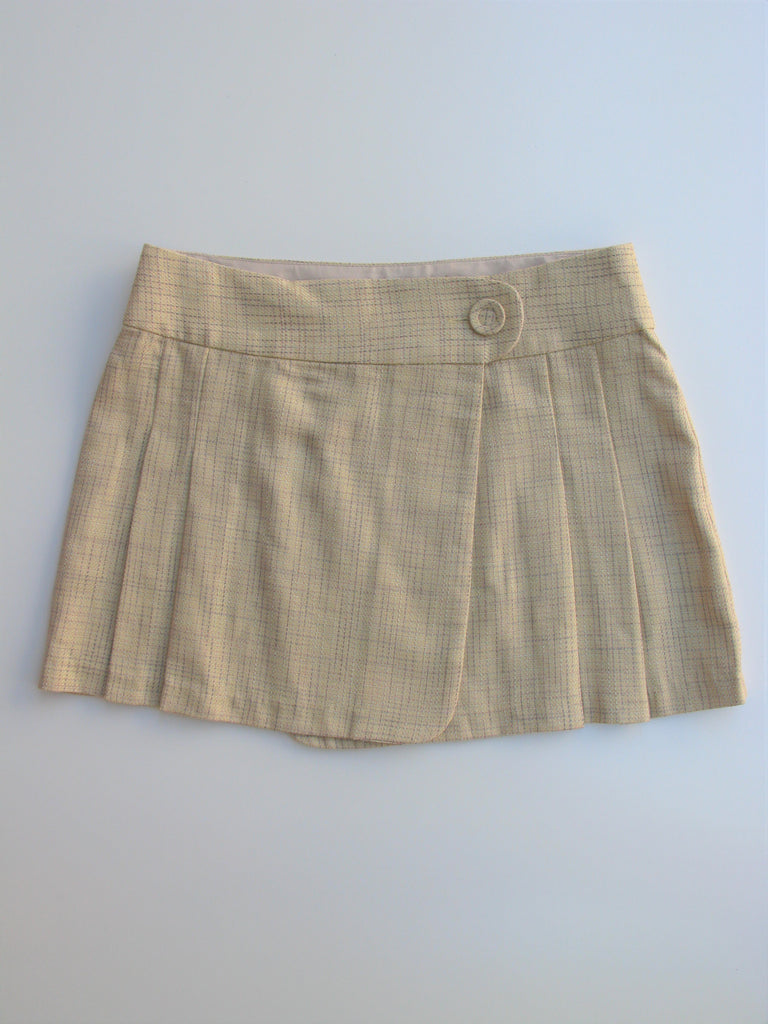 Zinc Plaid Pleated A-Line Wrap Mini Skirt 5
