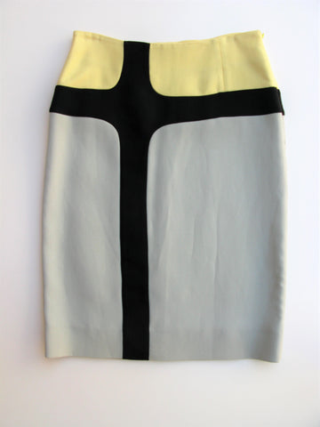 Marni Color-Block Wool & Silk Blend Skirt It 40 US 4/6