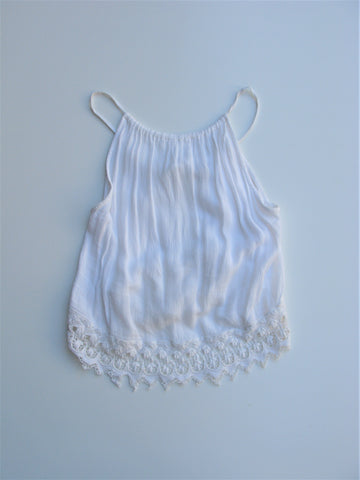 Topshop Gauzy Crochet Trim Sliding Strap Open Back Camisole Top 0