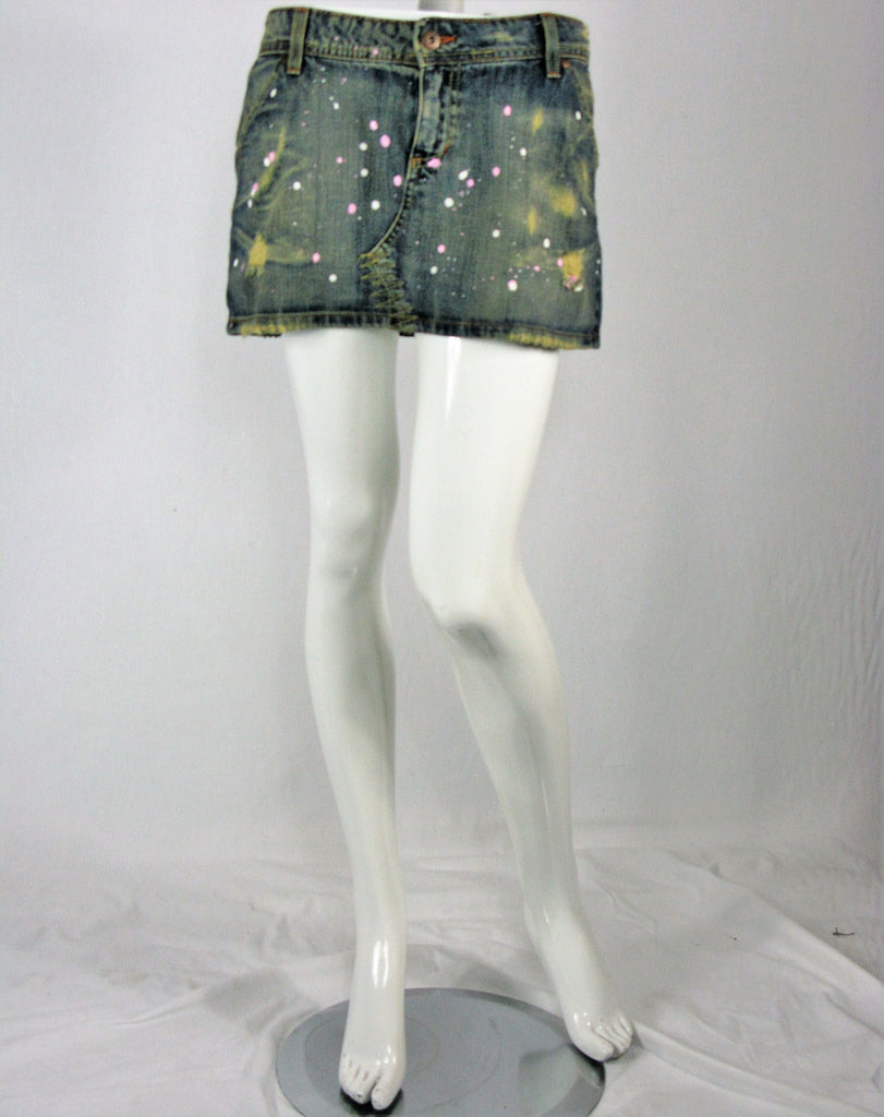 S marque Distressed Paint Splatter Jean Mini Skirt S - ruby & sofia