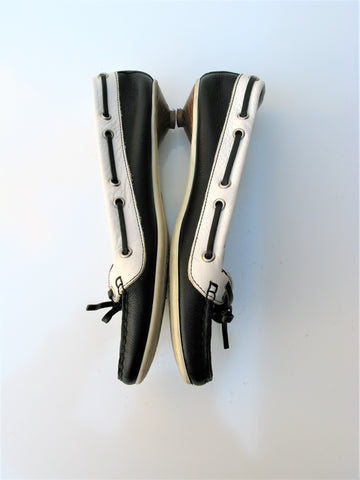 Coach Drena K Kitten Heel Black & White Leather Boat Shoe 7