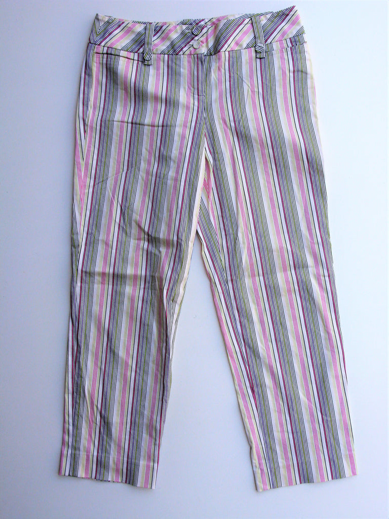 Ann Taylor Loft Slim Fit Low Rise Striped Capri Pants 2 NWOT