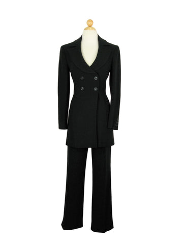 Karen Millen Black Crepe Fitted Long Blazer & Capri Pant Pant Suit UK 8