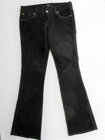 7 For All Mankind Black Flare Corduroy Low Rise Pants 27
