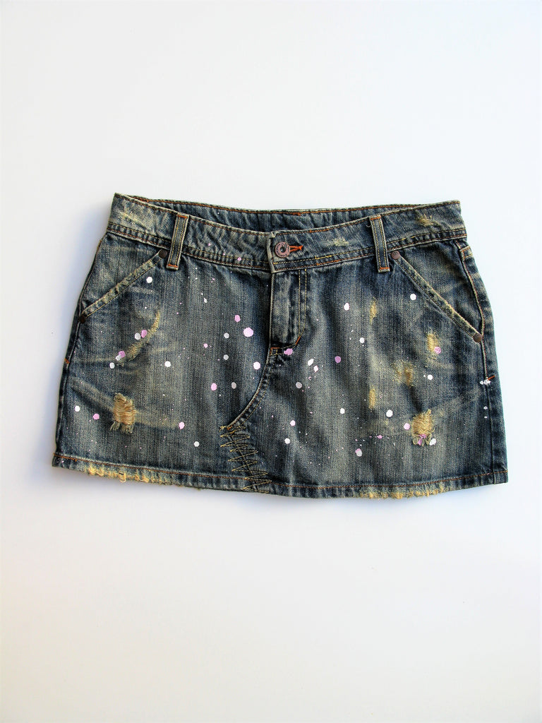 S marque Distressed Paint Splatter Jean Mini Skirt S