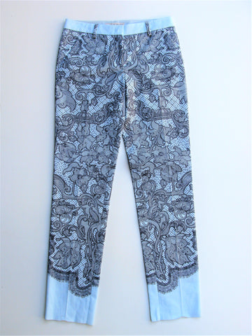 Emilio Pucci Runway Blue Azure Lace Print Stretch Cotton Pants 40 NWT