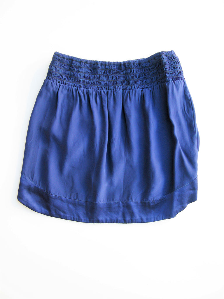 Karina Grimaldi Smocked Waist Silk Mini Skirt S