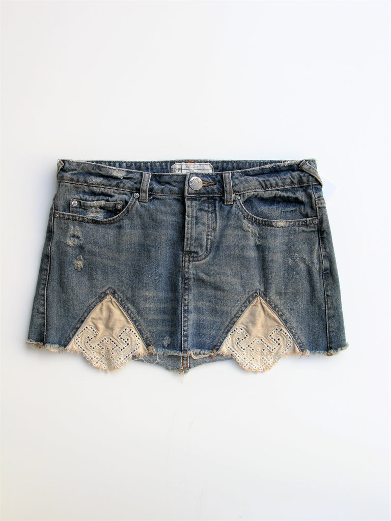 Free People Tire Swing Cut-off Distressed Denim Skirt 2
