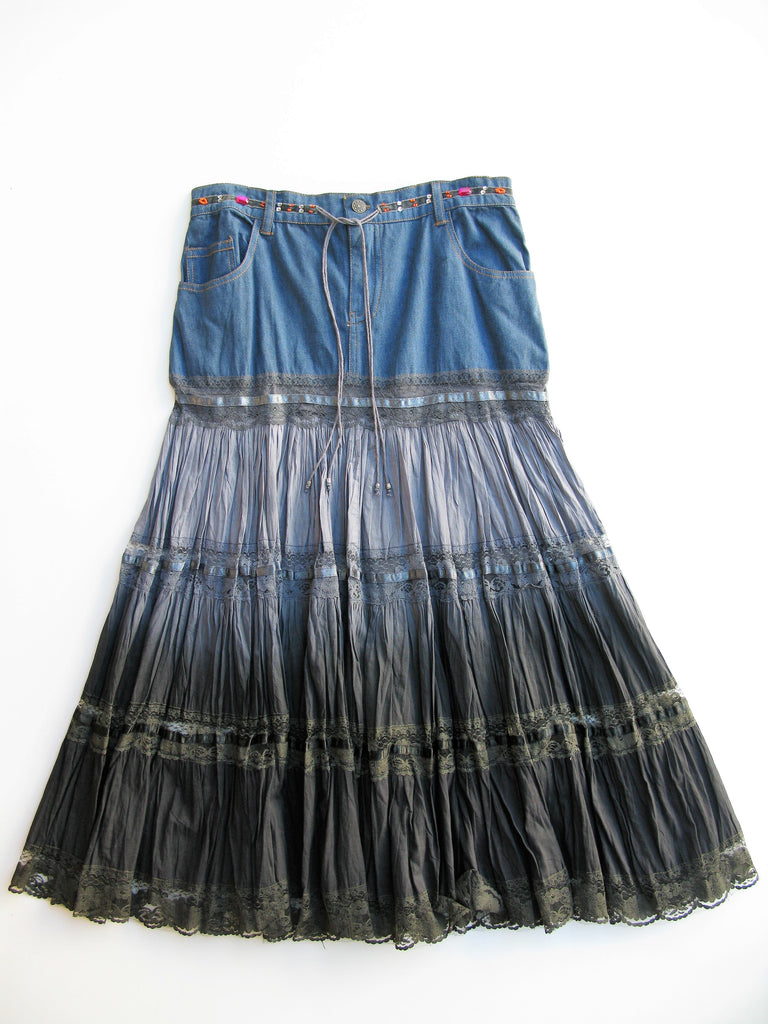 NY Girls Hippie Chic Ombre Peasant Skirt L NWT