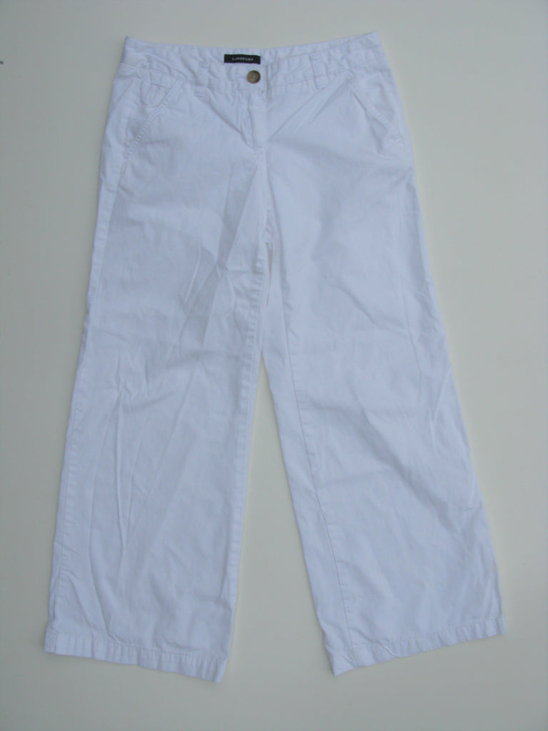 Lands End Wide Leg Ankle Length White Chinos 2