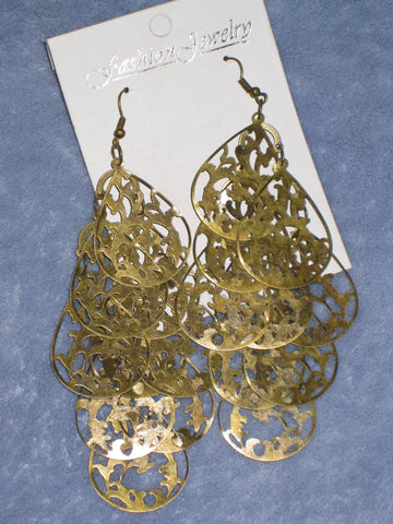 Bronze Tone Layered Drop Earrings
