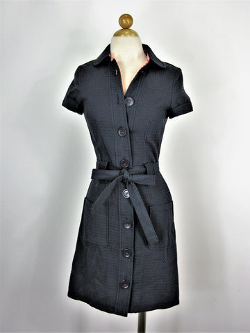 H&M Divided Navy Blue 40's Style Nautical Shirt Dress 34 / XS