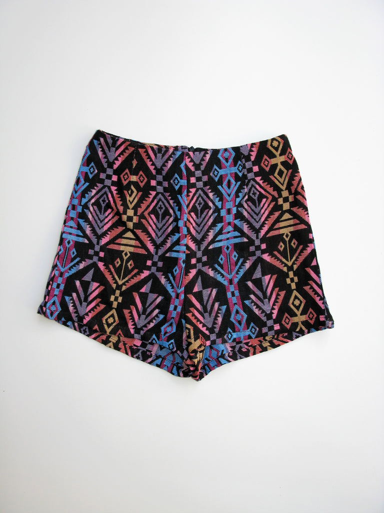 LF NaaNaa Multi Color High Rise Woven Aztec Shorts XS NWT