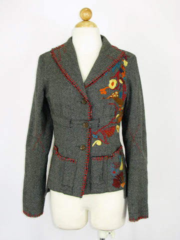 HENDi Wool Blend Grey Tweed Embroidered Jacket Blazer M