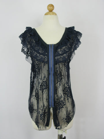 Free People 'Fly Away' Zip Front Lace Top S/P