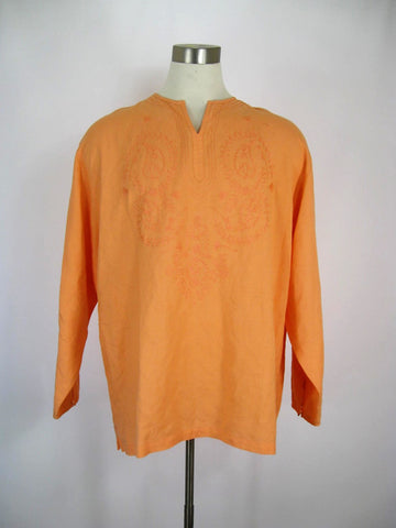 Stacy Adams Linen Blend Embroidered Tunic Top XXL