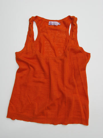 Calypso Christiane Celle Orange Linen Knit Tank Top XS