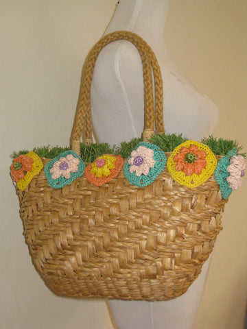 Serpui Marie Straw Floral Tote Bag