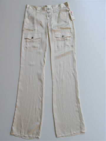 Joie 'So Real' Antique White Silk Cargo Pants 25 NWT