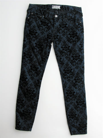 Free People Velvet Flocked Jacquared Stretch Skinny Jeans 26 NWT