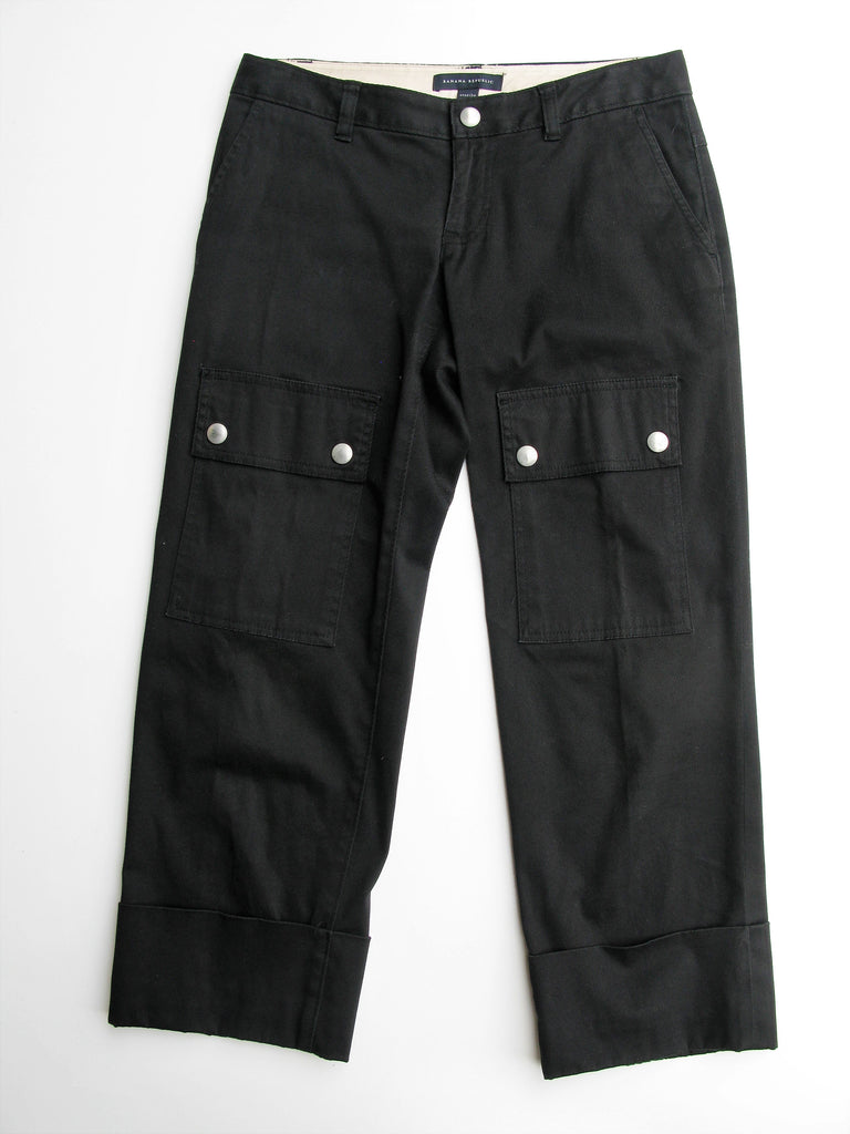 Banana Republic Black Cuffed Cargo Capri Pants 2