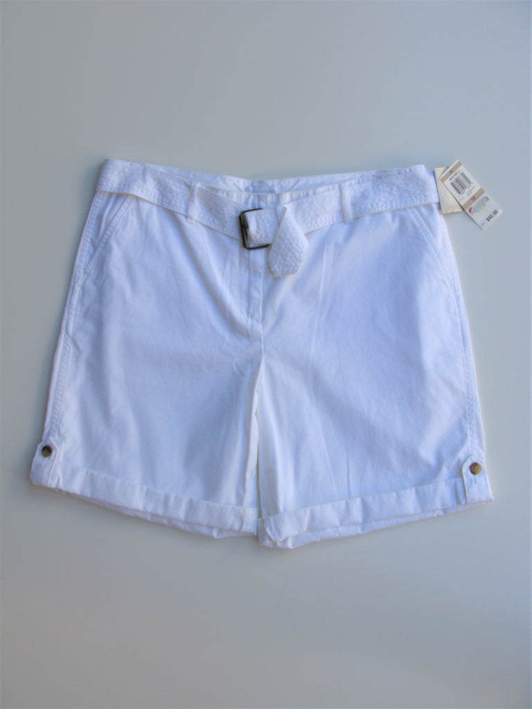 Charter Club Saturday Style Adjustable Rolled Cuff Poplin Cotton Shorts 12 NWT