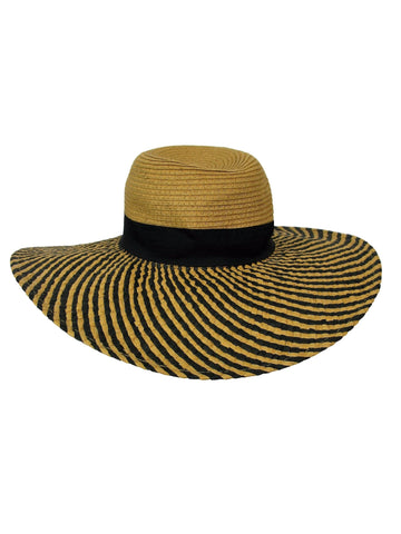 Icing Boho Striped Floppy Woven Hat OS