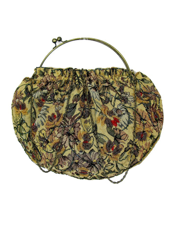 Beaded Tapestry Handbag Metal Hoop Ball Kiss Closure
