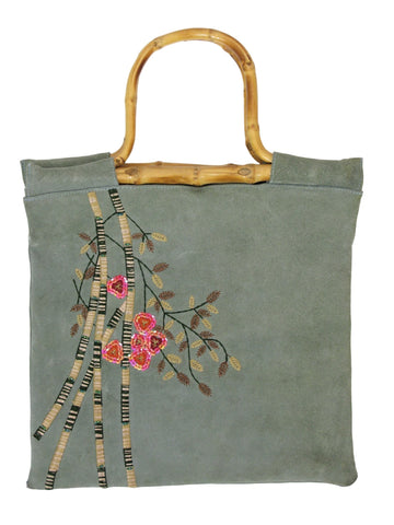 Lulu Suede & Embroidered Cane Handle Tote