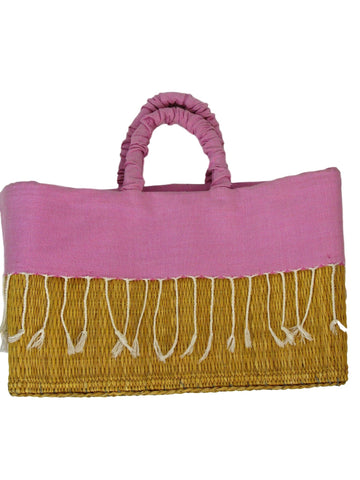 Scents and Feel Fully Lined Palm Leaf Fringe Basket