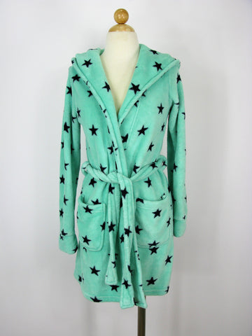 Forever 21 Shorty Fuzzy Star Print Hooded Bathrobe S/P
