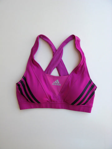 Adidas Climacool Magenta Pink Striped Padded Sports Yoga Workout Bra Crop Top S
