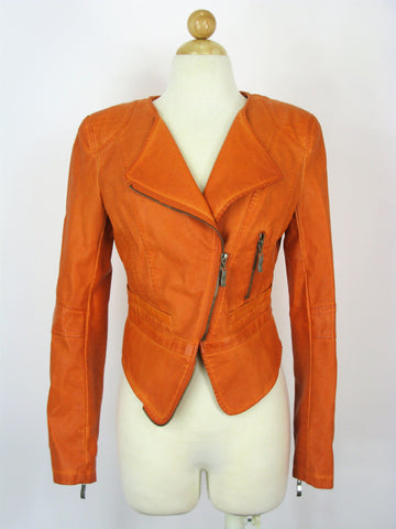 Raison D'etre Faux-Leather Cropped Moto Jacket Orange XS