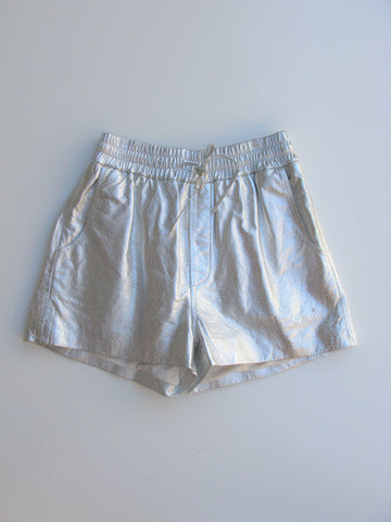 Torn by Ronny Kobo 'Jonah' Shorts in Silver Metallic Leather XS